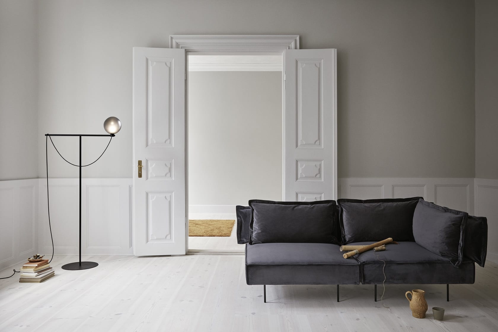 Modular Sofa-  Dark Grey Velvet