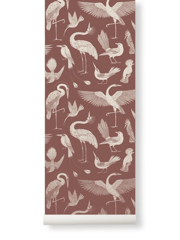 Birds Wallpaper- Dusty Red