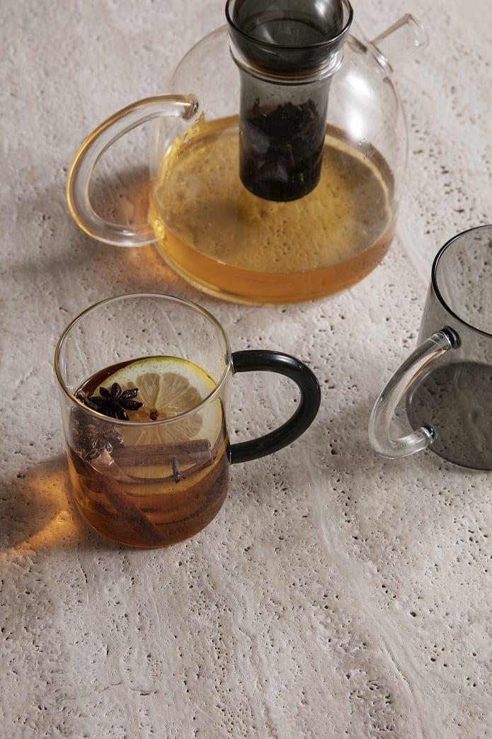 סט קנקן תה עם כוסות זכוכית - כלי מטבח יוקרתיים