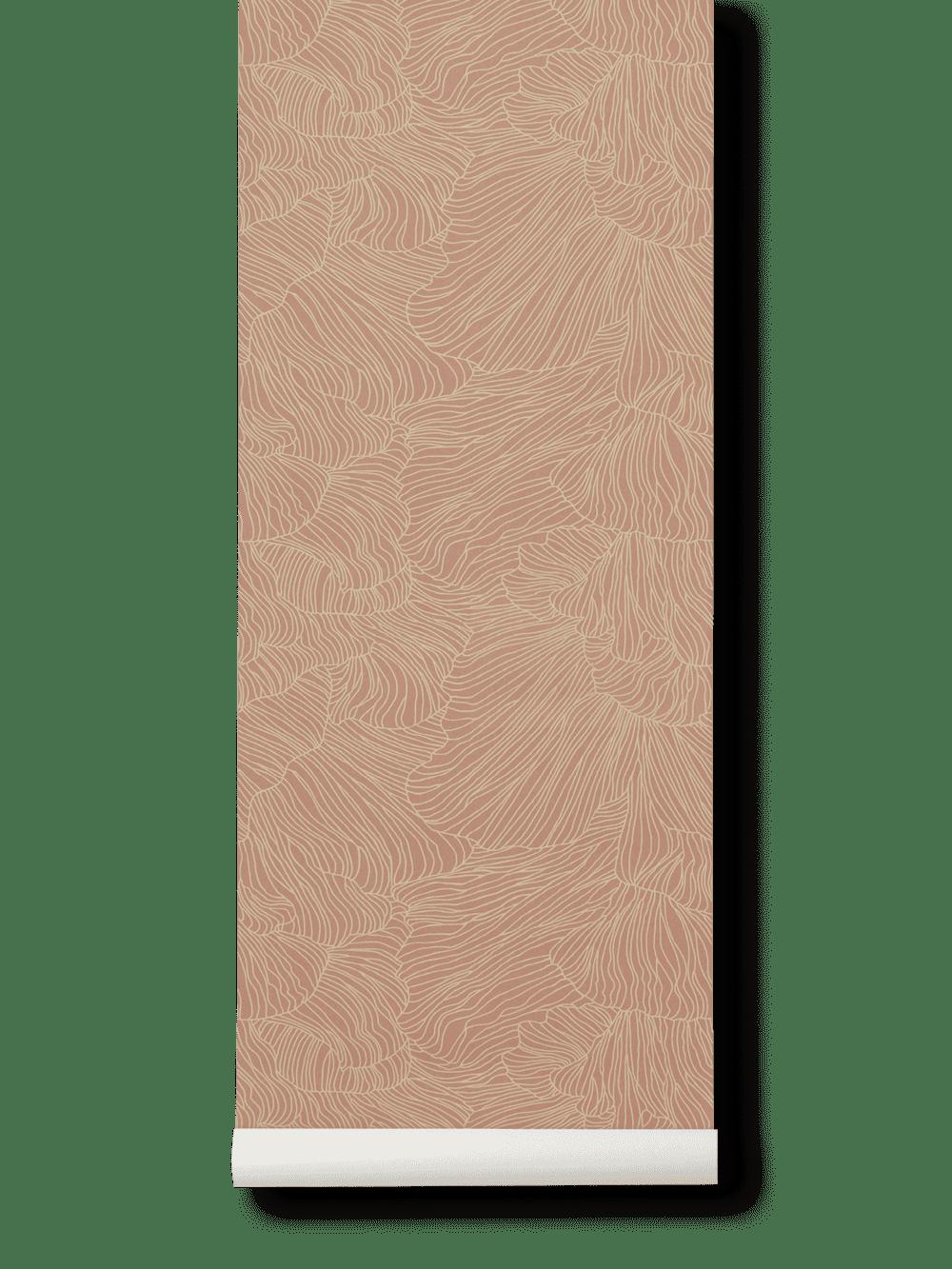 Coral Wallpaper- Dusty Rose/Beige