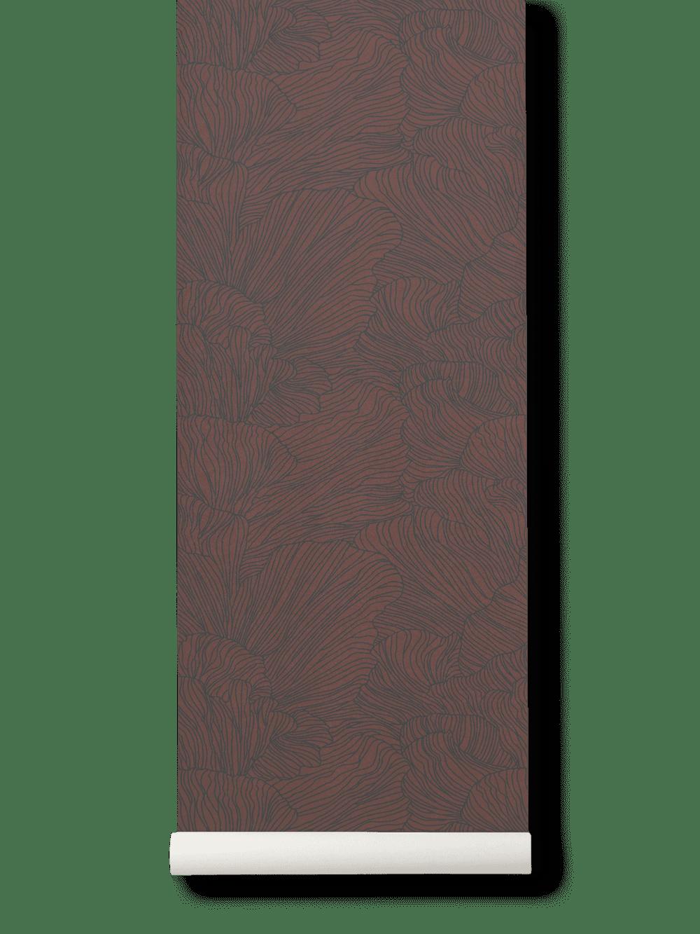 Coral Wallpaper- Bordeaux/Dark Blue