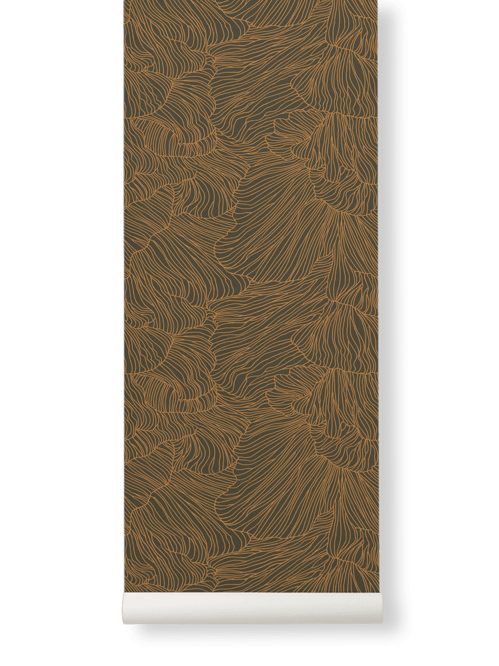 Coral Wallpaper- Dark Green/Gold